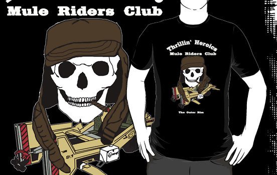 thrillin' heroics mule riders club white font